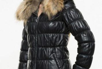 Chaqueta de cuero con piel femenina es la opción correcta para el invierno