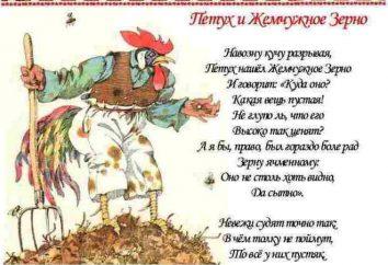 "fábula de Krylov ""O galo ea pérola"": Lote e análise"