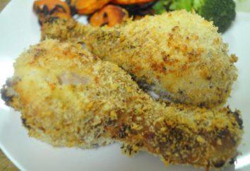 Gotowanie nogi kurczaka, panierowany