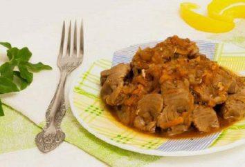 ventriglio di pollo, fritti con cipolle: diverse varianti di piatti
