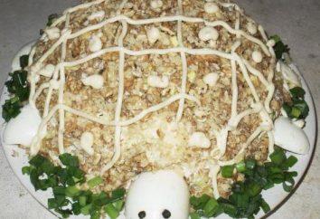 """Sałatka """"żółw"""" z kurczakiem i jabłko: recepta, zdjęcia, kalorie"""