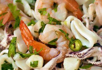 Salade « Cocktail de fruits de mer » avec les crevettes et les calmars. Comment préparer la salade « Cocktail de fruits de mer »