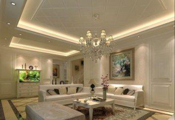Plafond suspendu: éclairage. Lustres et dans les plafonds tendus