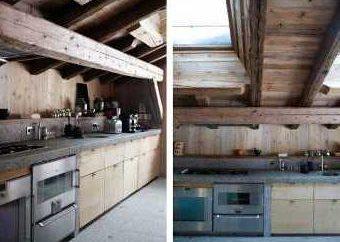 Cozinha no estilo chalé. Estilo chalé no interior da cozinha