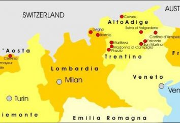 Stations de ski en Italie. Stations de ski en Italie sur la carte