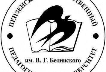 Penza Instytut Pedagogiczny nazwany V. G. Belinskogo: wydziały, szybkość przejść