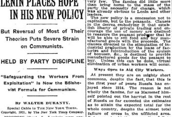 Qual é a essência da NEP – a política econômica da URSS na década de 1920?