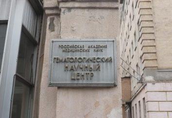 Istituto di ematologia nel sito ufficiale, indirizzo, recensioni di Mosca