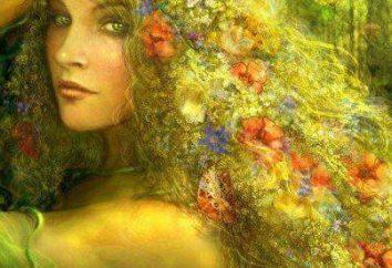 Dryad – eine schöne Nymphe und Bergblumen