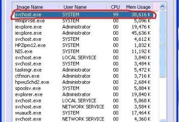 Svchost statek pamięci Windows 7. System proces svchost.exe statek