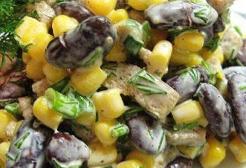 Gotowania razem sałatkę z fasolą i szynką i grzankami