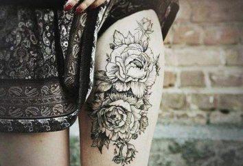 """Tatuaż na udzie """"Kwiaty"""": cechy, wartości, szkice"""