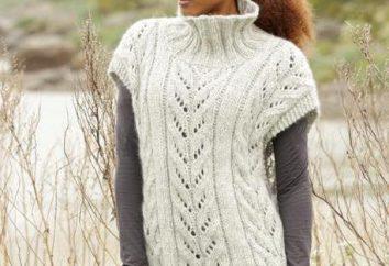 Como amarrar um colete longo com agulhas de tricô a partir de fios quentes