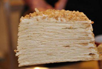 Kuchen in der Pfanne mit Vanillesoße. Selbst gemachter Kuchen: ein Schritt für Schritt Rezept