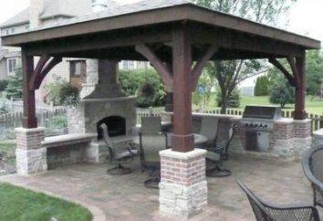 Barbecue avec une pergola. Le plan global de construction