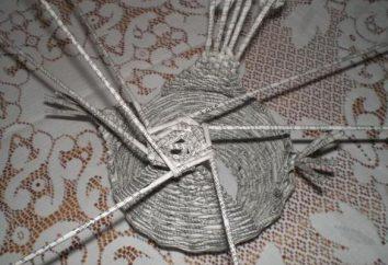Tessitura tubi di giornale. corone di tessitura a spirale, vasi, alberi di Natale