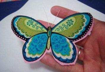Decoración original – mariposa hecha de tela con las manos