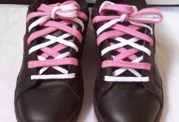 Wir betrachten verschiedene Möglichkeiten, Binden der Schuhe
