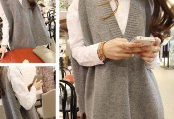 Agulhas de malha tricotadas sem manga feminina