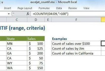 """""""COUNTIF"""" dans Excel: Exemples Description de"""