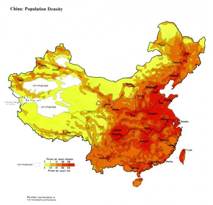 Cartina Climatica Cina.L Area Della Cina Cina Popolazione Superficie La Densita Di Popolazione In Cina