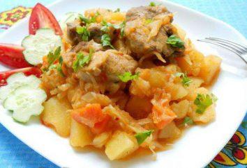 patatas cocidas al horno con pollo y setas. Varios de los platos recetas
