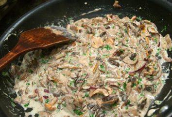 Grzyby w śmietanie na patelni: najlepsze recepty. Kurczaka i wieprzowina z grzybami w sosie śmietanowym