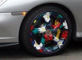 Hinweis motorist: Pulver und Acrylmalerei Scheibe
