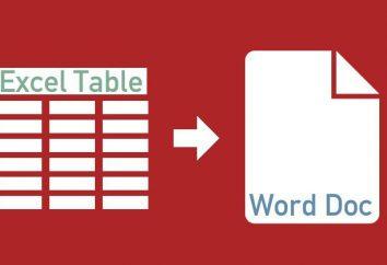 Zarówno z arkusza kalkulacyjnego Excel, aby przenieść do programu Word 2003, 2007, 2010