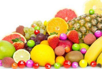 Table des vitamines dans les aliments (produits à base de viande et de la farine, les légumes, les fruits)