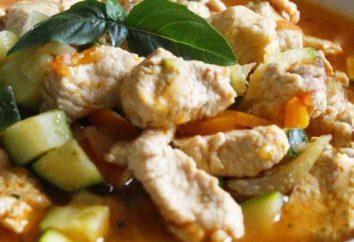 Turquía con calabacín: cocinar en el horno en una sartén y multivarka