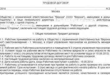 Código aduaneiro de RF: uma amostra de um contrato de trabalho para um período de estágio
