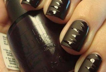La conception des ongles est une nouvelle année matte. Vernis gel-vernis matte-glossy noir (photo)