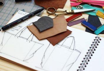 Home Werkstatt: Tasche aus Leder mit ihren Händen, die Muster und Nähen