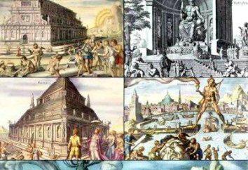 Seven Wonders: Wielka Piramida, wiszące ogrody Babilonu, tym Posąg Zeusa w Olimpii, świątynia Artemidy, Mauzoleum w Halikarnasie, Kolos Rodyjski, Latarnia morska w Aleksandrii