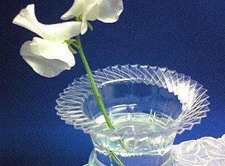 Criação a partir do nada: um vaso de garrafas de plástico com as mãos, bem como outros ofícios