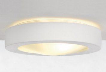 lampes de plâtre dans un intérieur moderne. Les principales caractéristiques de ces dispositifs