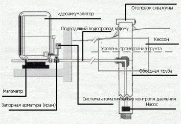 suministro de agua de casa privada del pozo: esquema. desde un sistema de agua de pozo