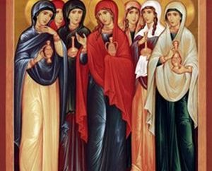 "Tag der Heilige Myrrhe-Lager Frauen in der Orthodoxie. Icon ""Myrrhe tragende Frauen am Grab"""