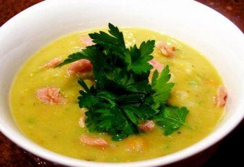 Cook zuppa di piselli con nervature affumicate in multivarka