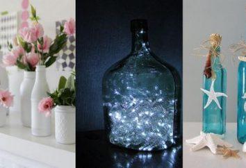 Począwszy od szklanej butelce zrobić wazon? Wazon z rękami