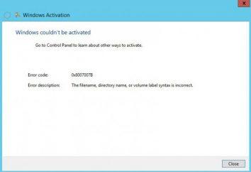 Aktywacja systemu Windows. Kod błędu 0x8007007b: jak to naprawić?