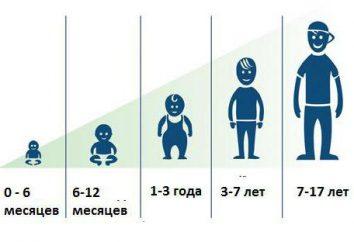 O crescimento da idade da criança. mesa de crescimento