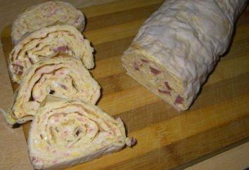 Recette: roll Pita avec les bâtonnets de crabe, du fromage, l'ail, les œufs et le riz bouilli
