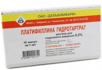 Caractéristiques de l'utilisation myotrope antispasmodique « platifillin tartrate »