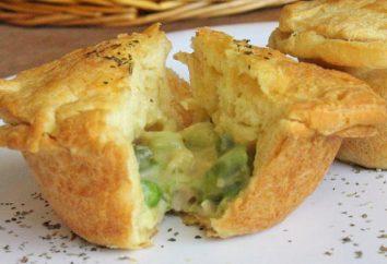 muffins de poulet: le meilleur casse-croûte. muffins de poulet au fromage et aux champignons