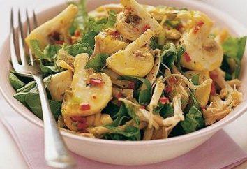 Kochsalat mit Pilzen und Huhn und Käse, sowie andere Optionen für die Mahlzeiten mit Geflügel