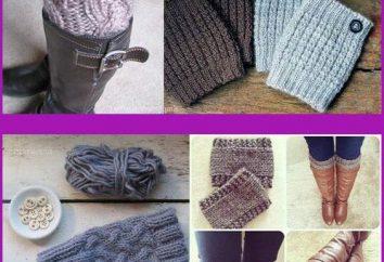Polainas calientes y decorativas con agujas de tejer: dibujo y descripción