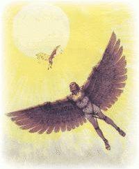Mity greckie: Daedalus i Icarus. Zestawienie zdjęć legendy