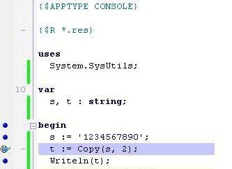 Delphi poz – linia w Pascalu